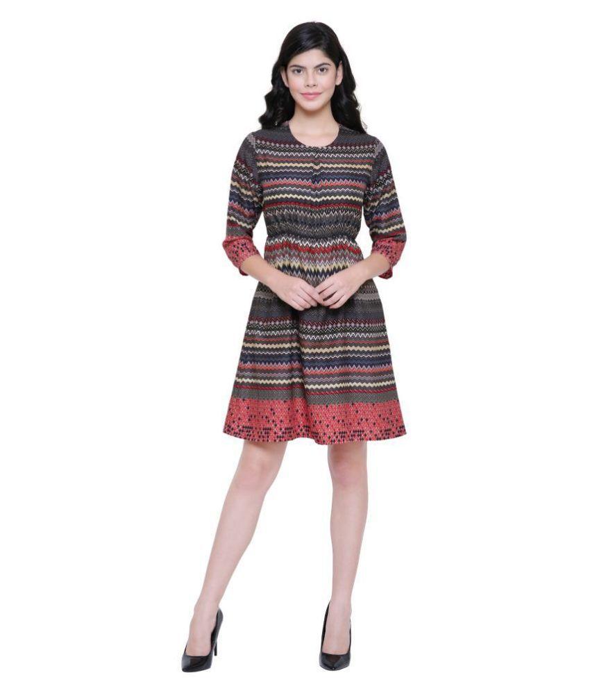 SONAM FOREVER Poly Crepe Multi Color A- line Dress