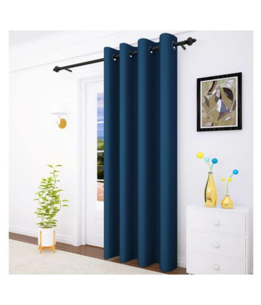 Story@Home Single Door Blackout Room Darkening Eyelet Silk Curtains Navy Blue