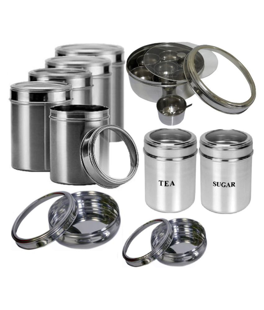 Dynore seethroughmulti-size Steel Food Container Set of 10 500 mL