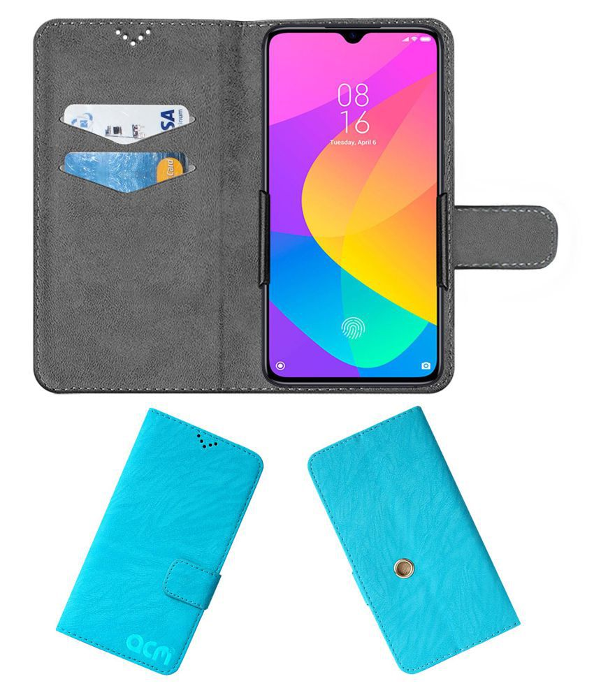 Xiaomi Mi 9 Lite Flip Cover by ACM - Blue Clip holder to hold phone