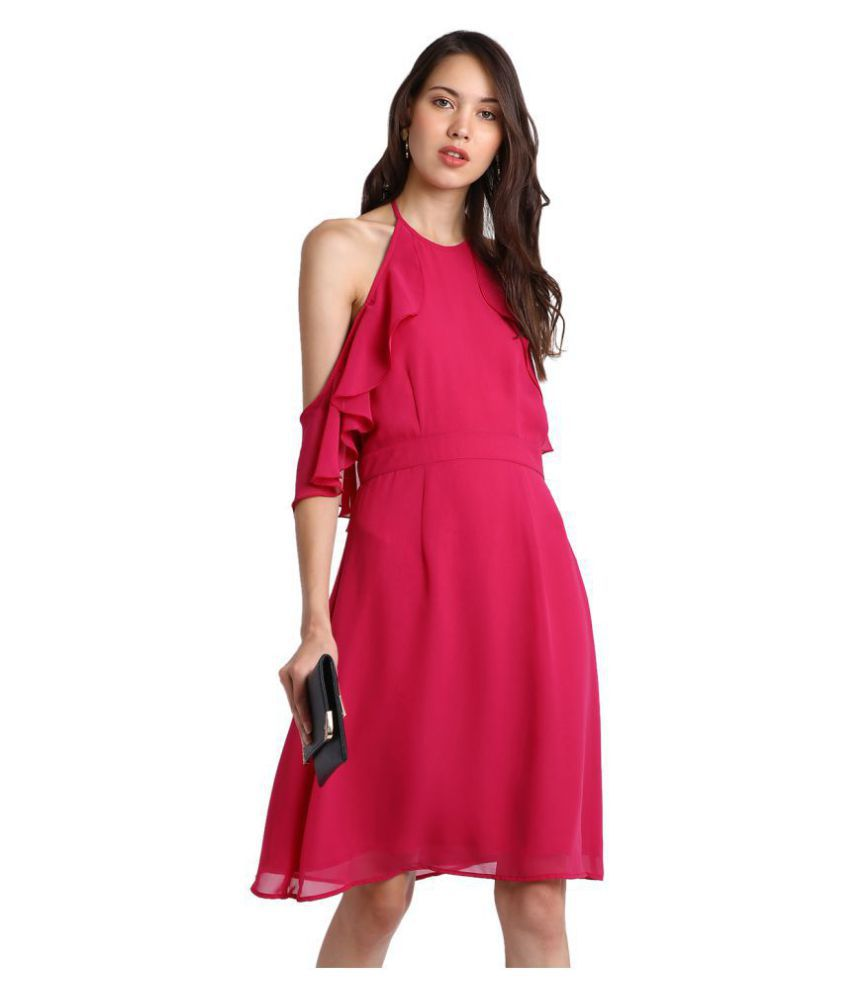 Besiva Polyester Pink Fit And Flare Dress