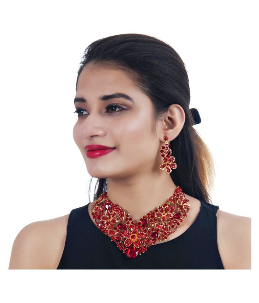 LUCKY JEWELLERY Alloy Red Designer Gold Plated
