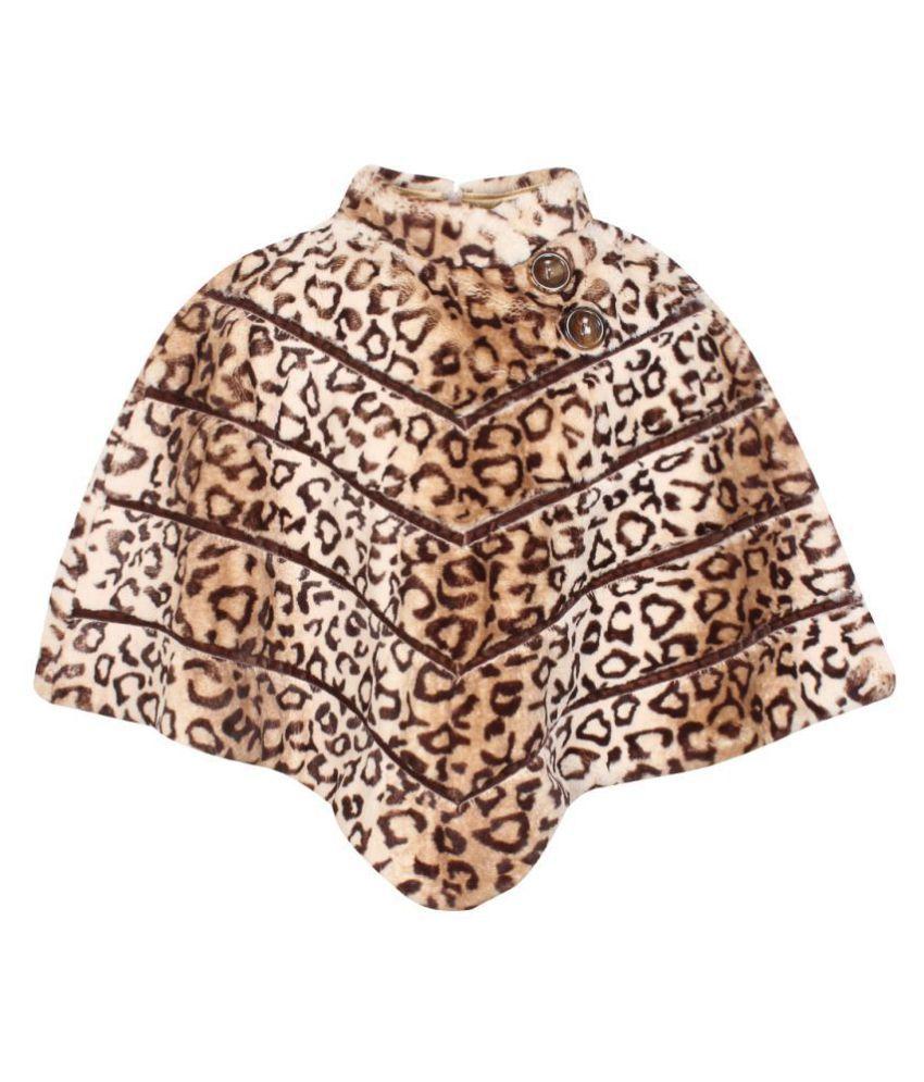 Cutecumber Girls Partywear Animal Print Soft Fur Winter Poncho