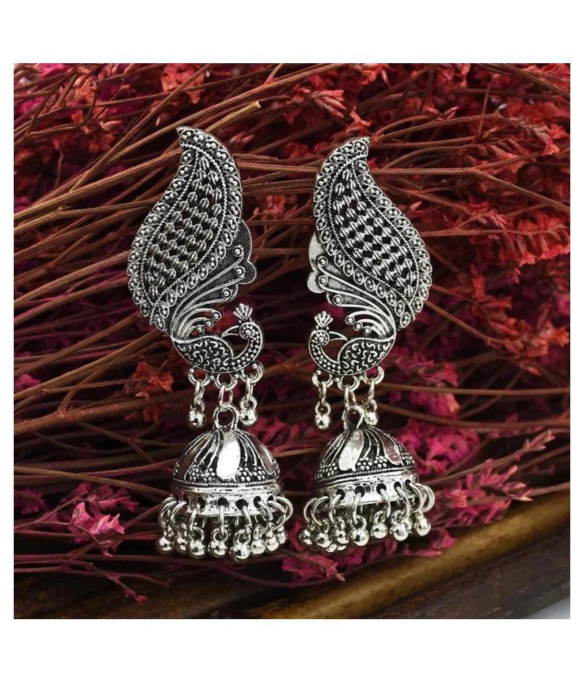 Ethnic  Silver Peacock  Vintage  Jhumka Earrings