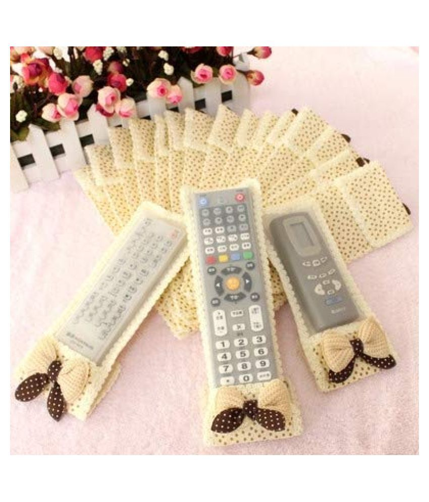 Everbuy Set of 3 Cotton Beige Remote Control Cover