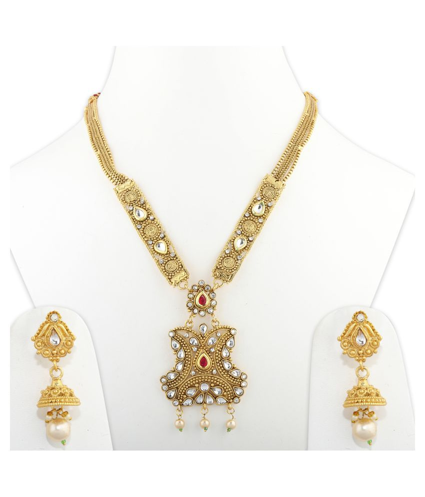 Silver Shine Alloy Golden Choker Gold Plated Necklaces Set