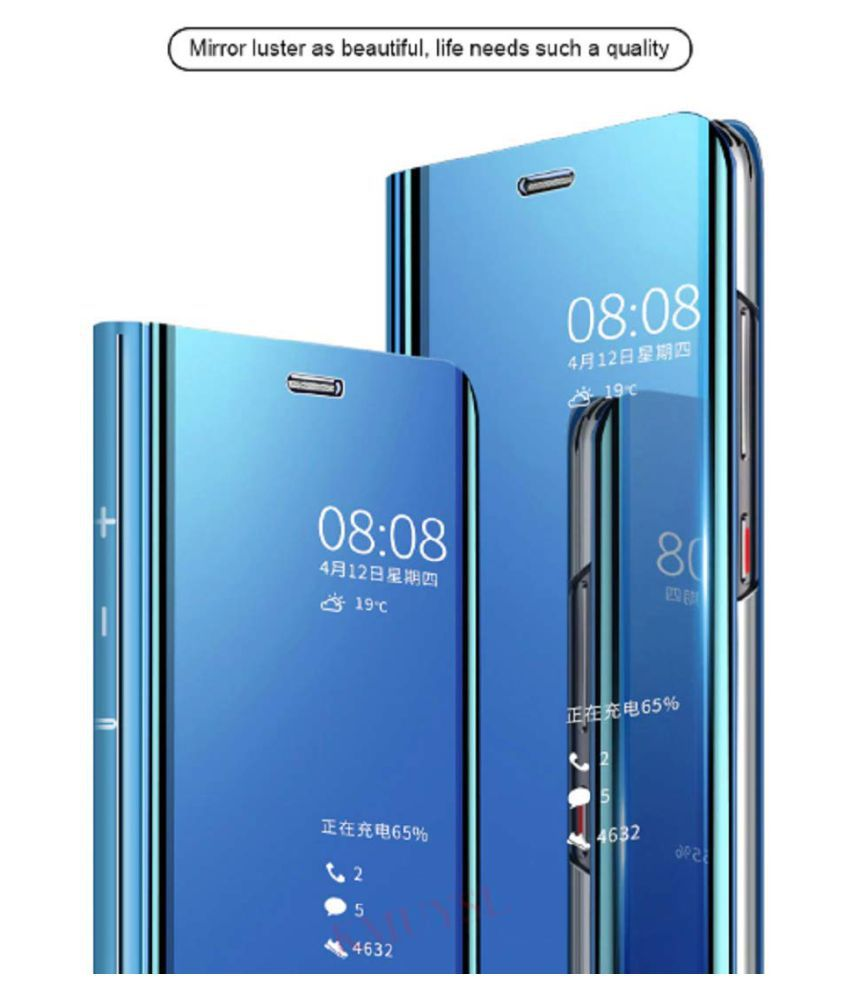 Xiaomi Redmi Note 5 Pro Flip Cover by BeingStylish - Blue Luxury Mirror Flip Cover