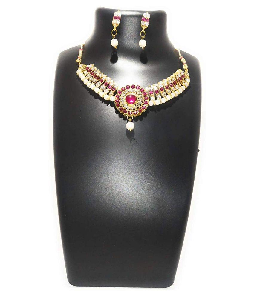 Shopezzz Bazaar Jewellery Sets for Women Gold Plated Kundan Traditional Necklace Set for Women Choker Jewellery Set with Earrings for Girls/Women