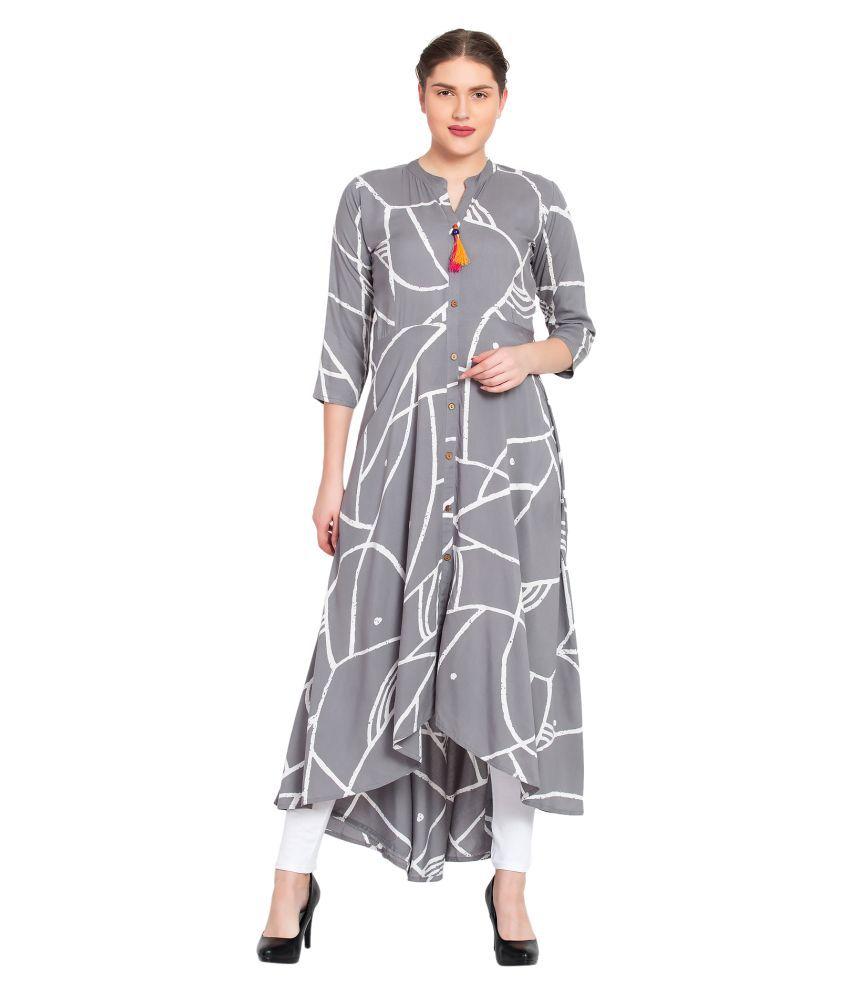 LIVSI Grey Rayon A-line Kurti