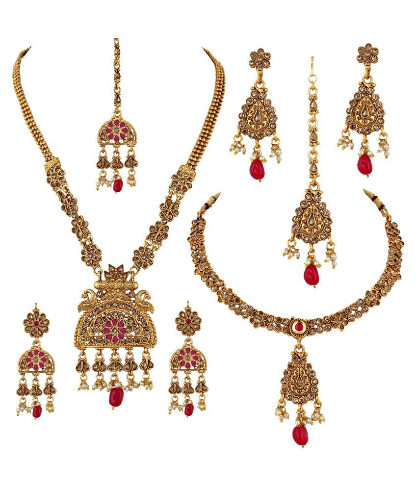 LUCKY JEWELLERY Alloy Red Other Designer Gold Plated Necklace set Combo