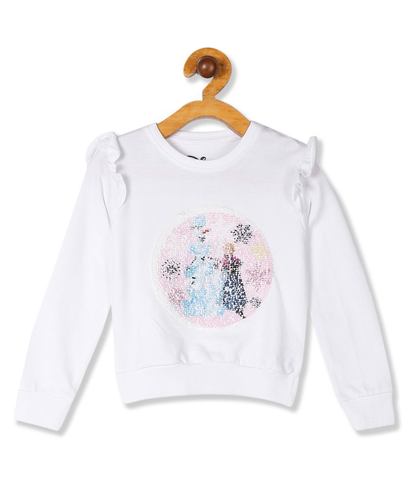 White Girls Ruffle Trim Frozen Graphic Sweatshirt