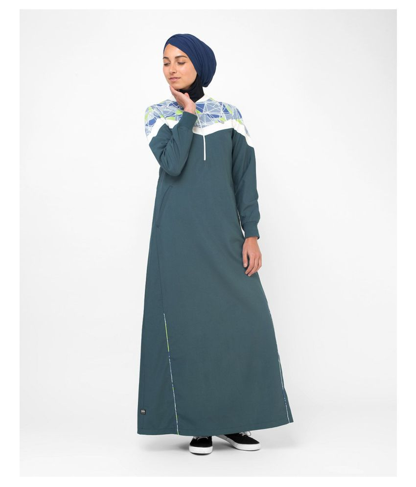 Silk Route London Green Polyester Stitched Burqas without Hijab