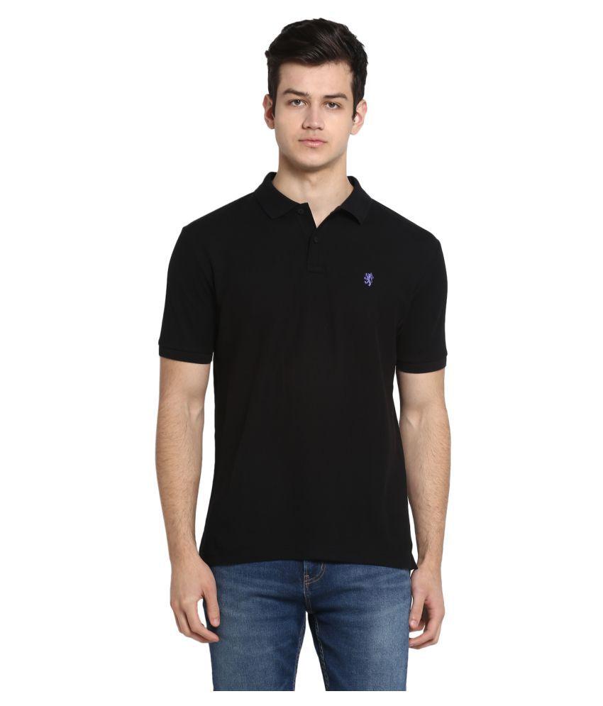 Red Tape 100 Percent Cotton Black Plain Polo T Shirt