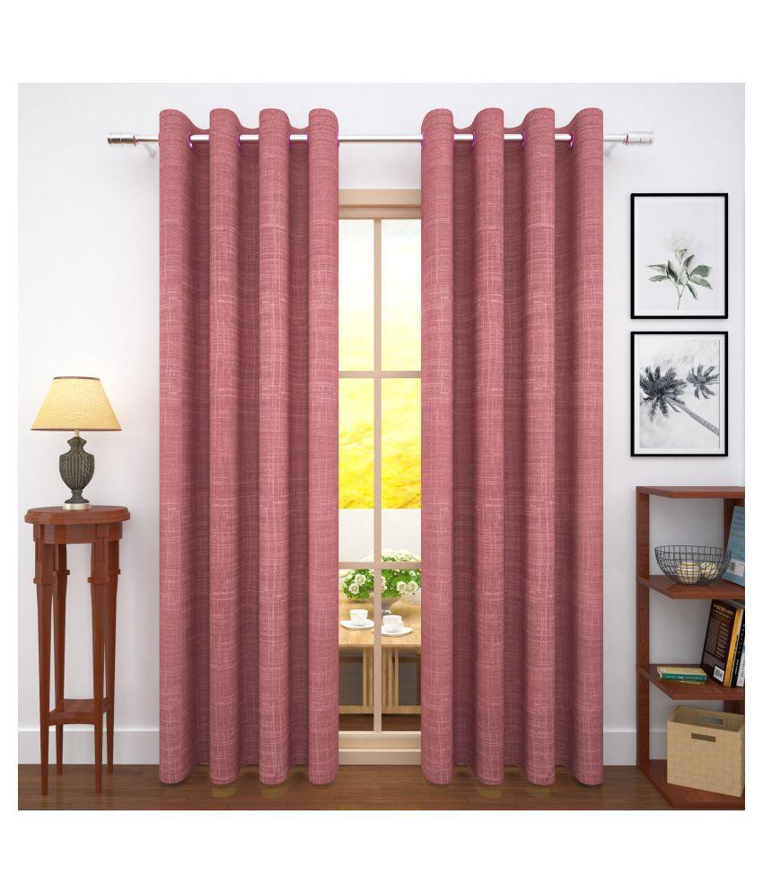 Story@Home Set of 2 Door Blackout Room Darkening Eyelet Jute Curtains Pink