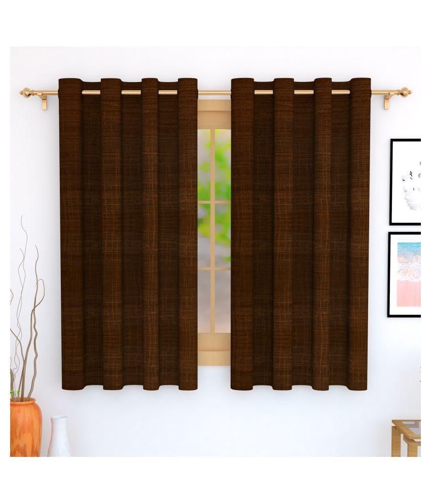 Story@Home Set of 2 Window Blackout Room Darkening Eyelet Jute Curtains Brown