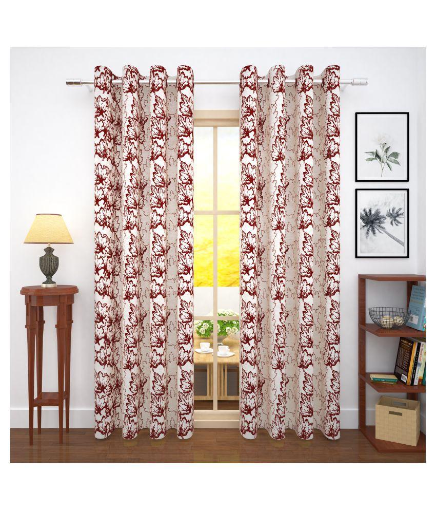 Story@Home Set of 2 Door Blackout Room Darkening Eyelet Jute Curtains Maroon
