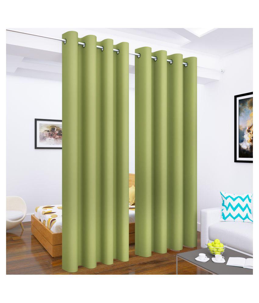 Story@Home Set of 2 Long Door Blackout Room Darkening Eyelet Silk Curtains Green