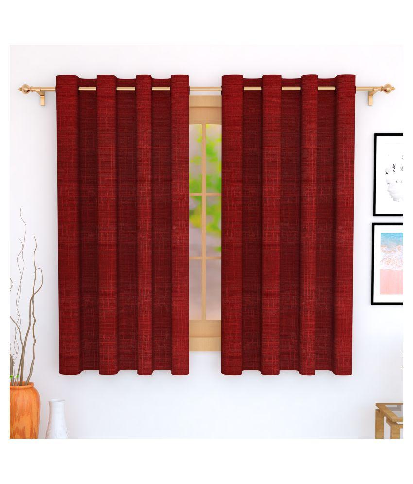 Story@Home Set of 2 Window Blackout Room Darkening Eyelet Jute Curtains Maroon