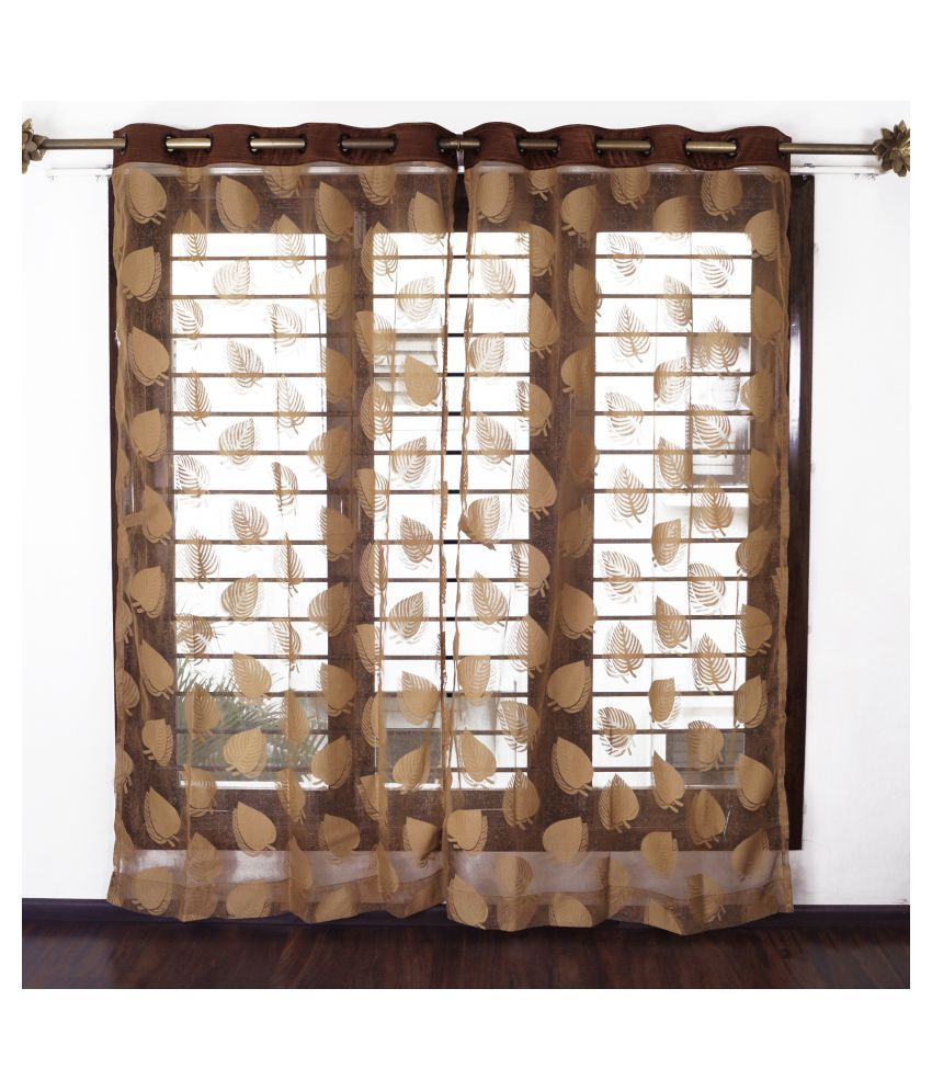 Story@Home Set of 2 Window Semi-Transparent Eyelet Polyester Curtains Brown