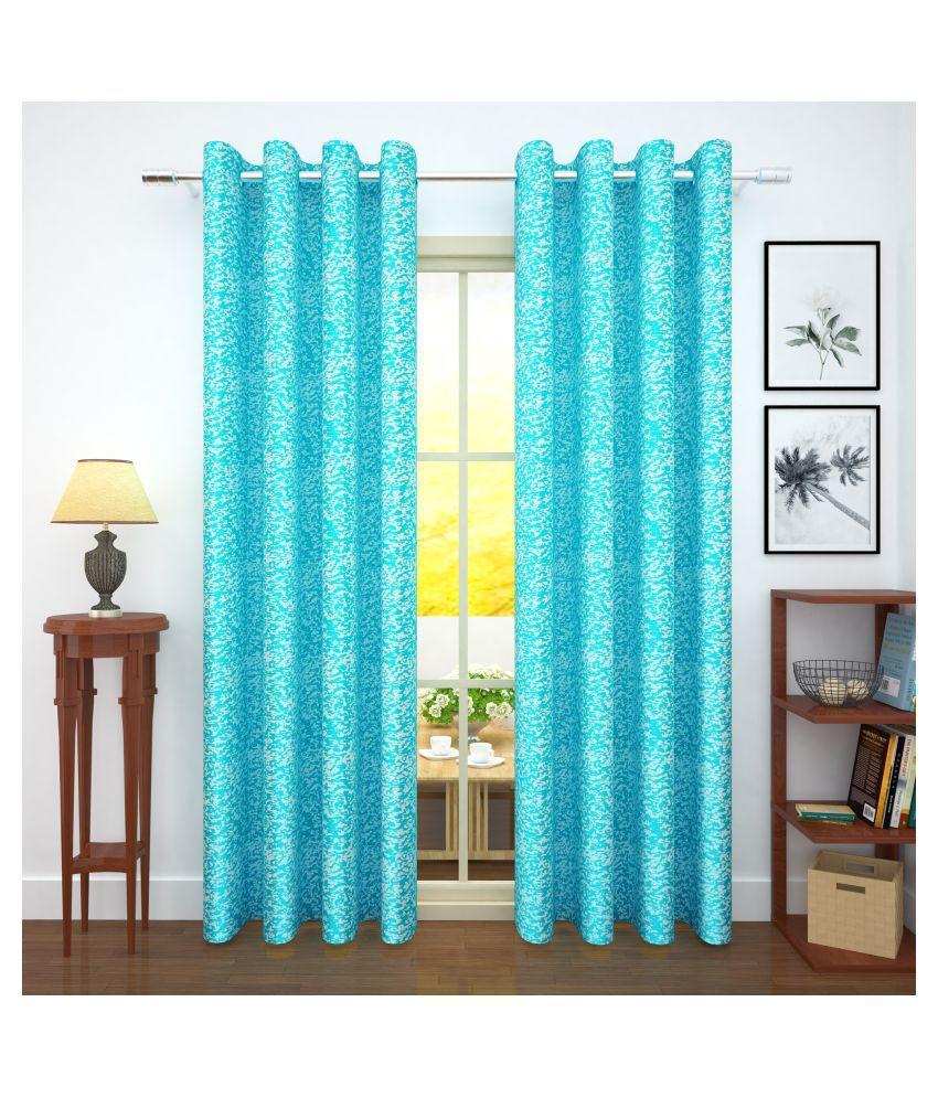Story@Home Set of 2 Door Blackout Room Darkening Eyelet Jute Curtains Blue