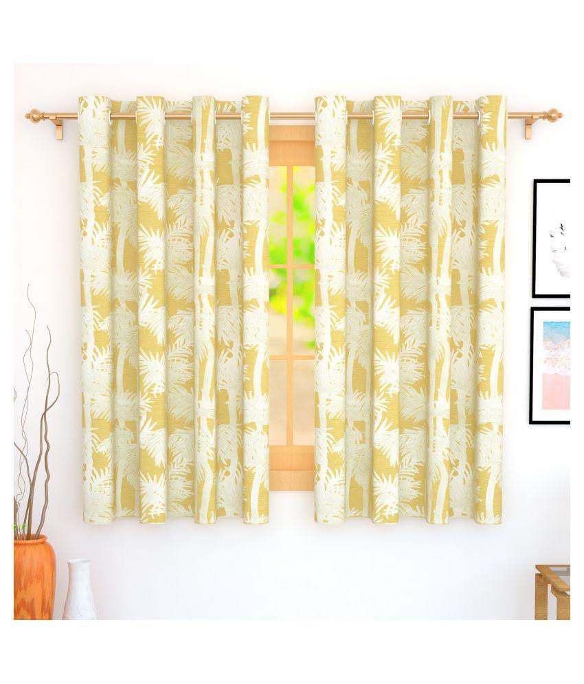 Story@Home Set of 4 Window Blackout Room Darkening Eyelet Jute Curtains Mustard