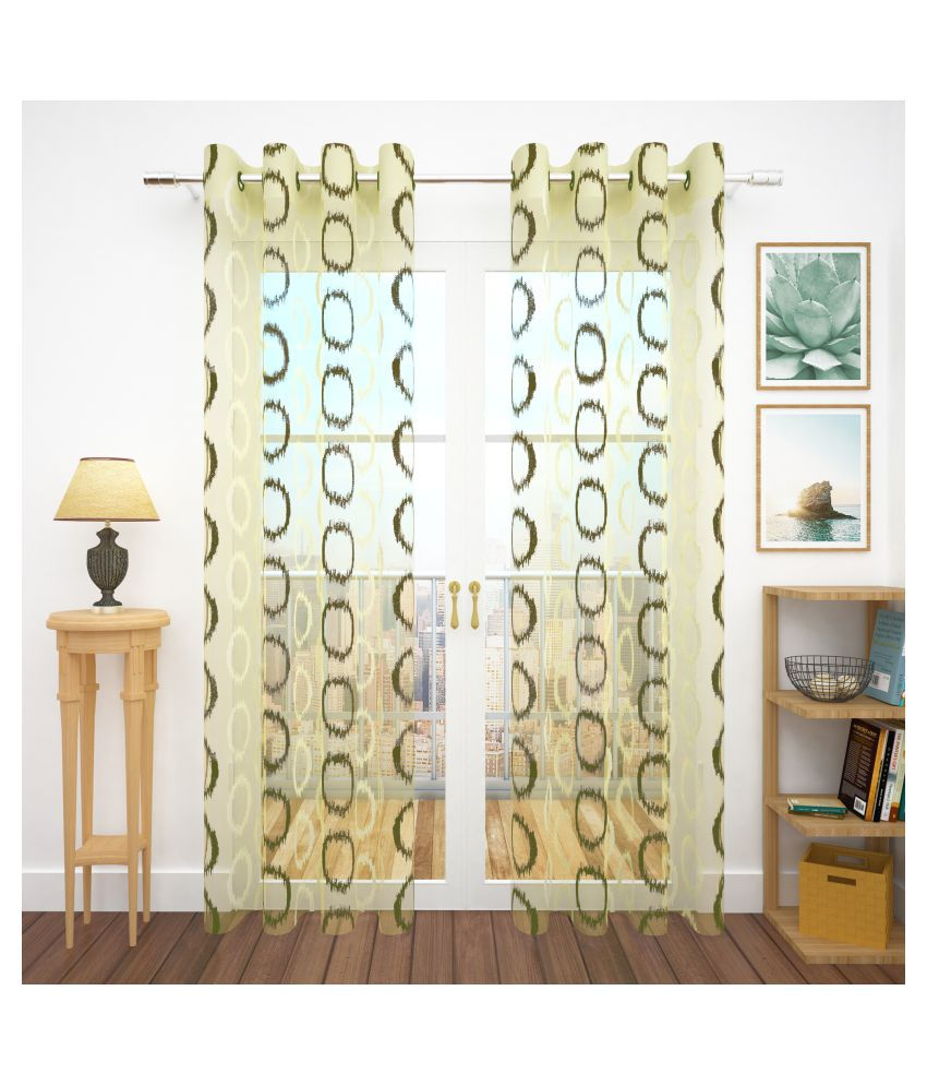 Story@Home Set of 4 Door Semi-Transparent Eyelet Polyester Curtains Green
