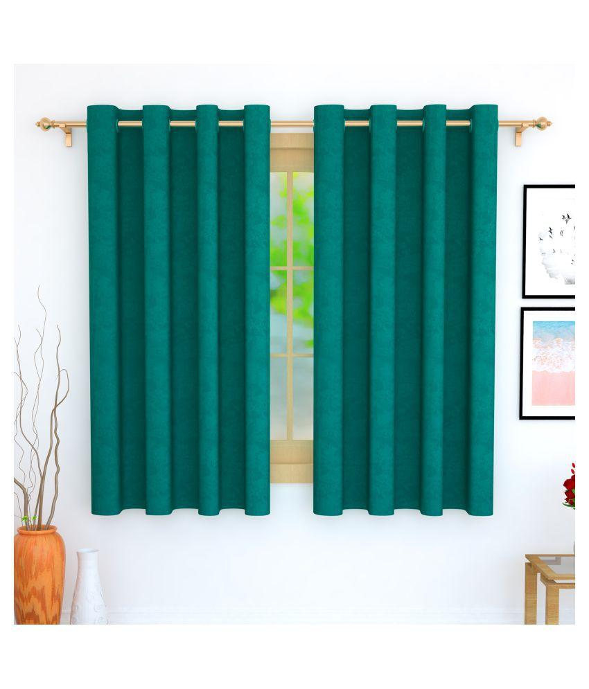 Story@Home Set of 4 Window Blackout Room Darkening Eyelet Jute Curtains Turquoise