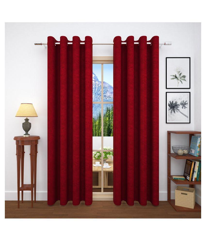 Story@Home Set of 4 Door Blackout Room Darkening Eyelet Jute Curtains Maroon