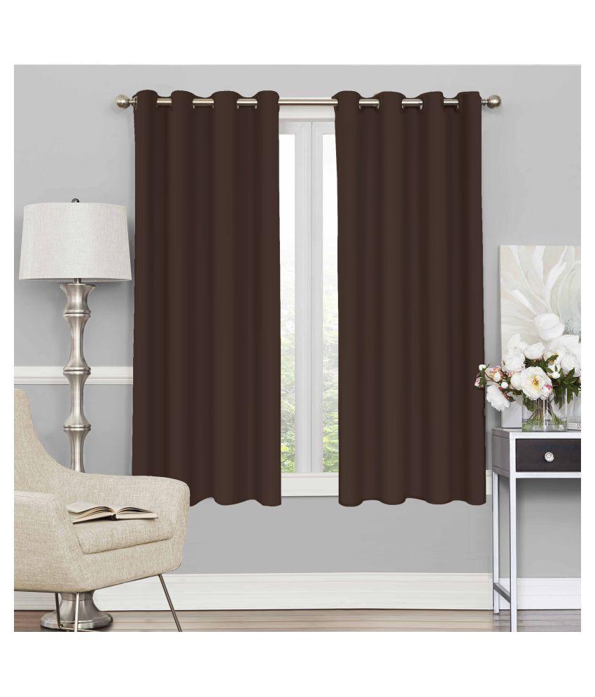Story@Home Set of 4 Window Blackout Room Darkening Eyelet Silk Curtains Brown