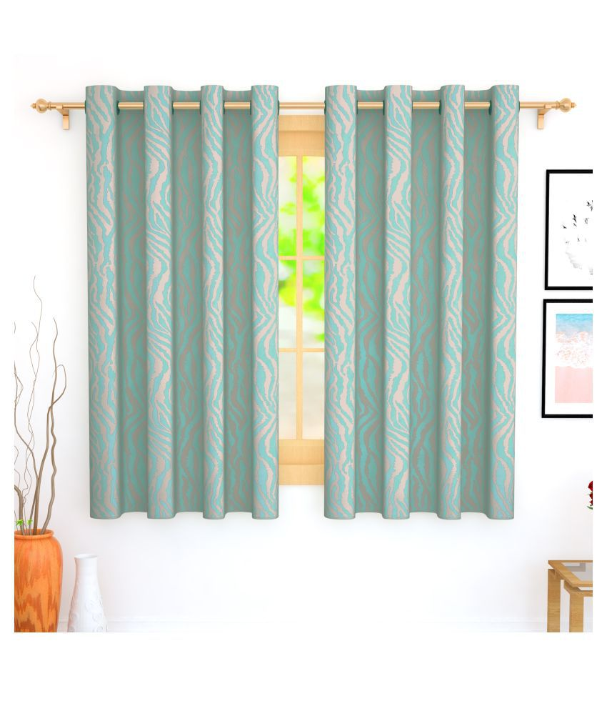 Story@Home Set of 4 Window Blackout Room Darkening Eyelet Jute Curtains Blue