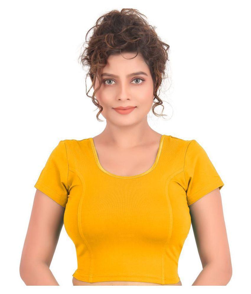 Atulya Designer Blouse Yellow Lycra Readymade without Pad Blouse