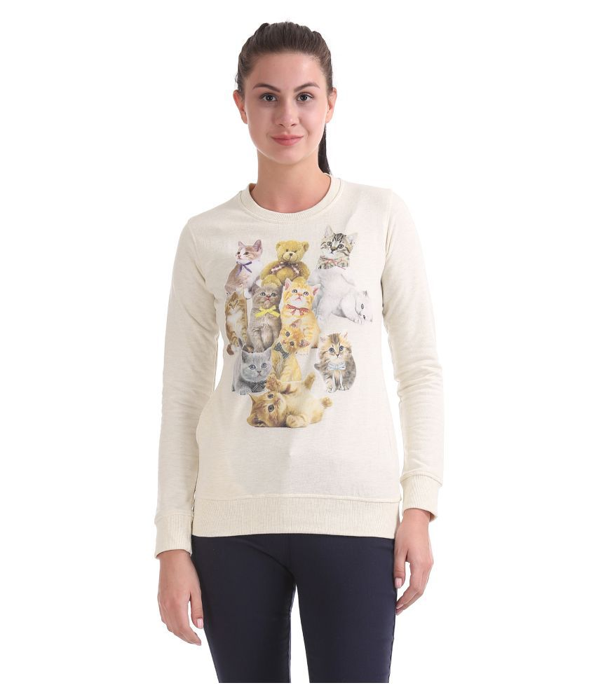 Newport Cotton - Fleece White Non Hooded Sweatshirt
