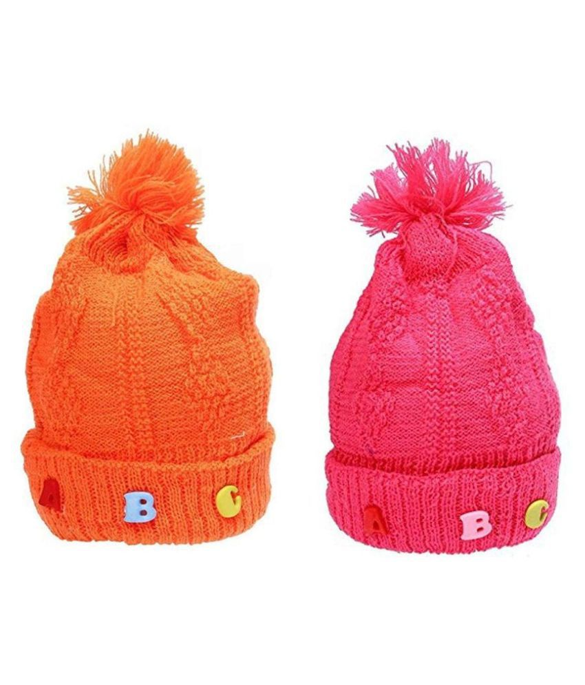 Gouravsumana Baby Boys and Baby Girl's Woolen Cap ( Multicolour ; Pack Of 2 ) 1-2 Years