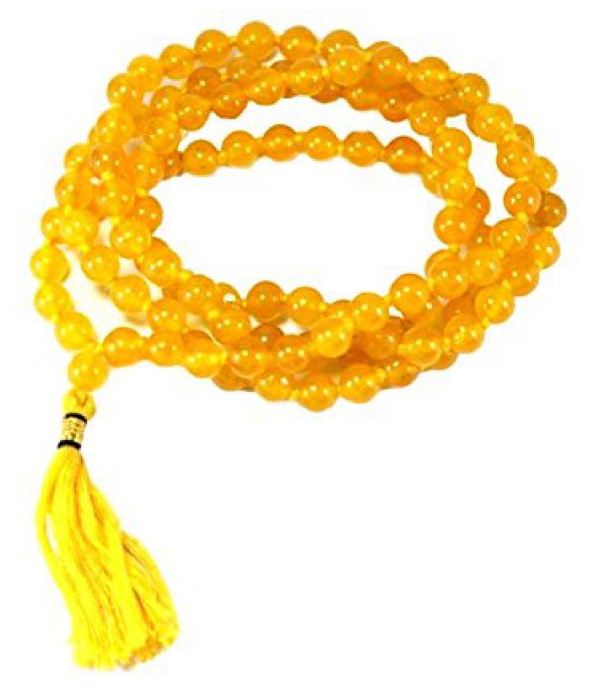 Kanha Ji 100% Genuine and Natural Yellow Hakik Mala (Agate Rosary) Akik Mala For Pooja Meditation 6MM