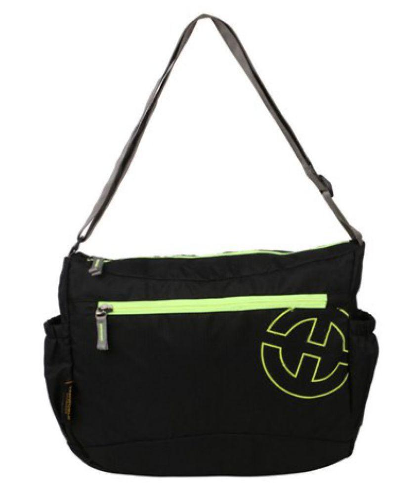 TANWORLD Black P.U. Casual Messenger Bag