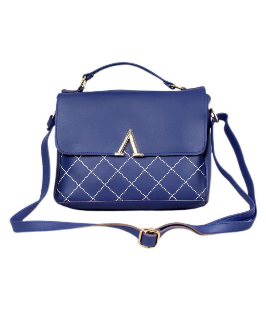 VineLeaf Blue P.U. Sling Bag