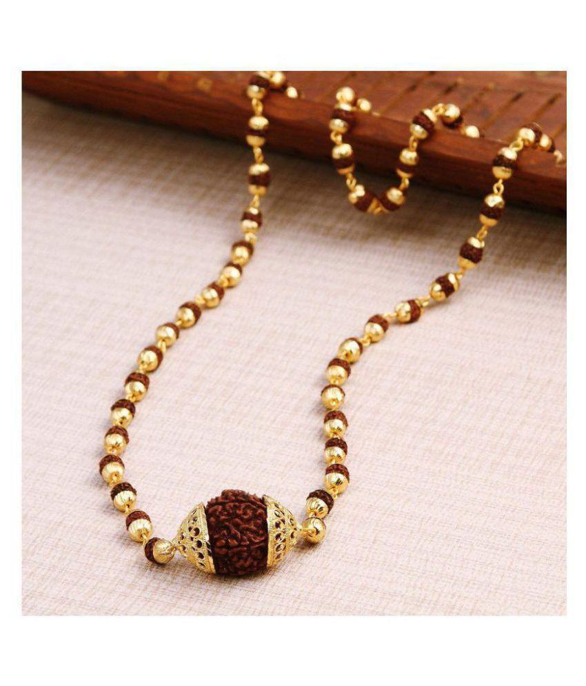 BHAUNE RETAILS original Rudraksha Mala with Big Rudraksha Pendand in Gold Plated Cap