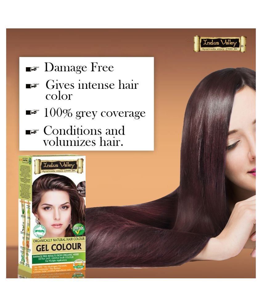 Indus Valley Organically Natural Gel Hair Dye For Dullness Removal Permanent Hair Color Mahogany Copper 220 mL
