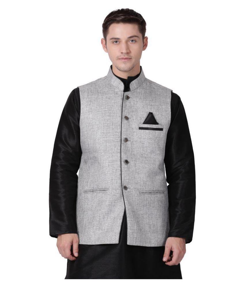 Tabard Silver Cotton Nehru Jacket