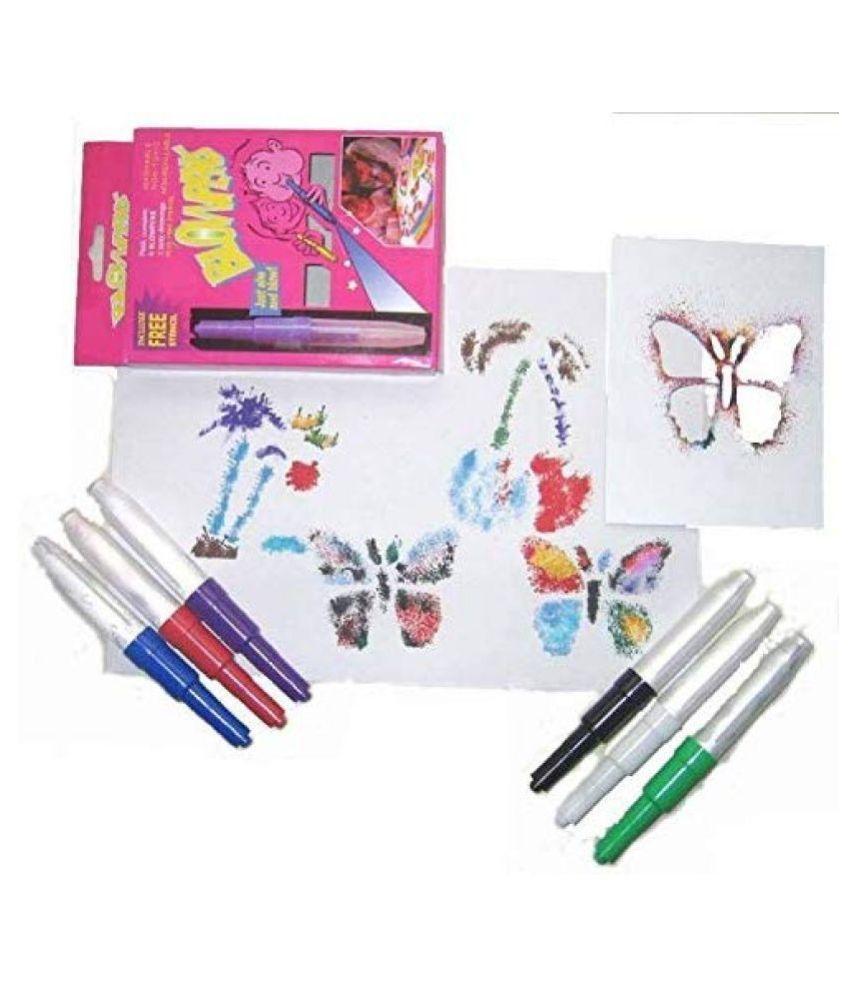 ASU 6pc Color Spray Blow Pens Magic Blowpens with 3 Stencils
