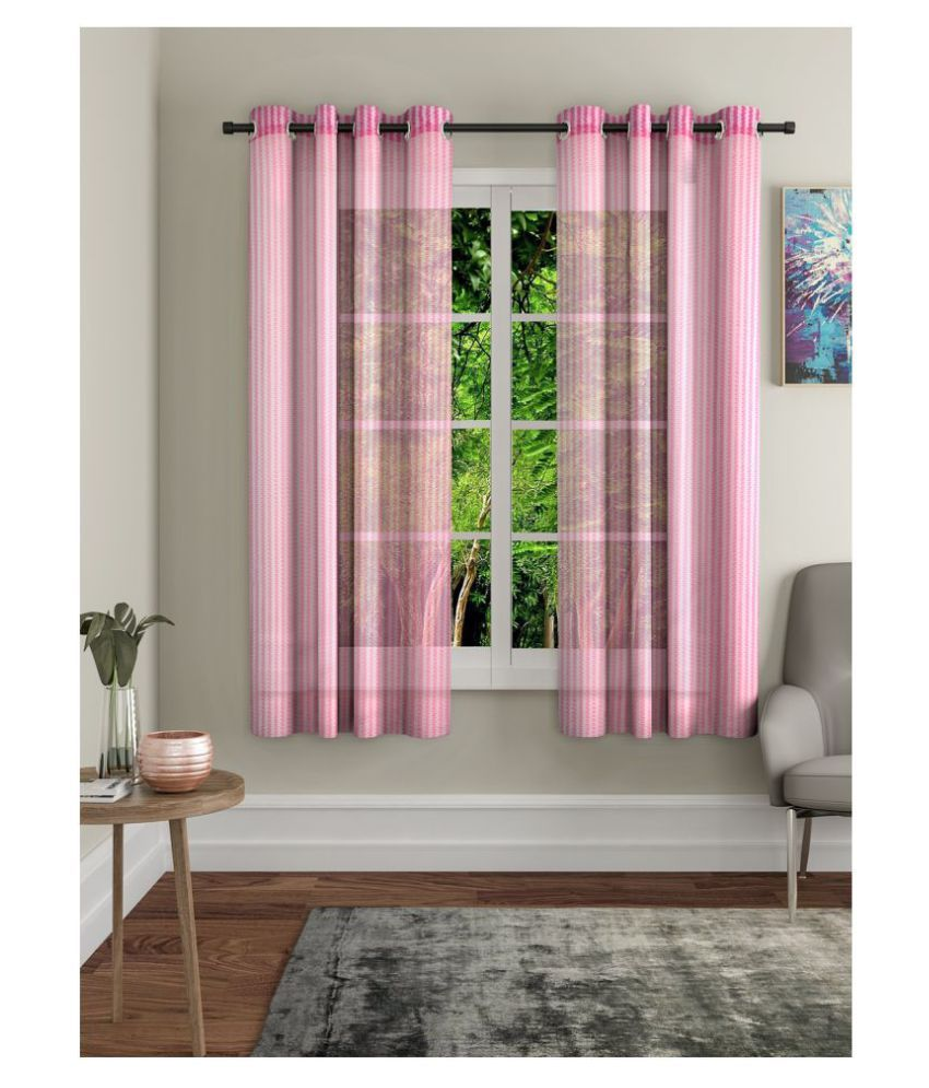 Home Sizzler Set of 2 Window Transparent Eyelet Polyester Curtains Pink