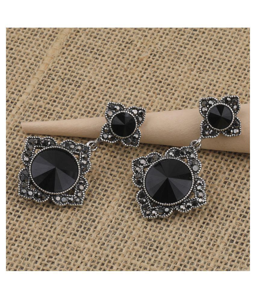 SILVER SHINE Antique Party Wear Diamond Dangle Earring For Women Girl
