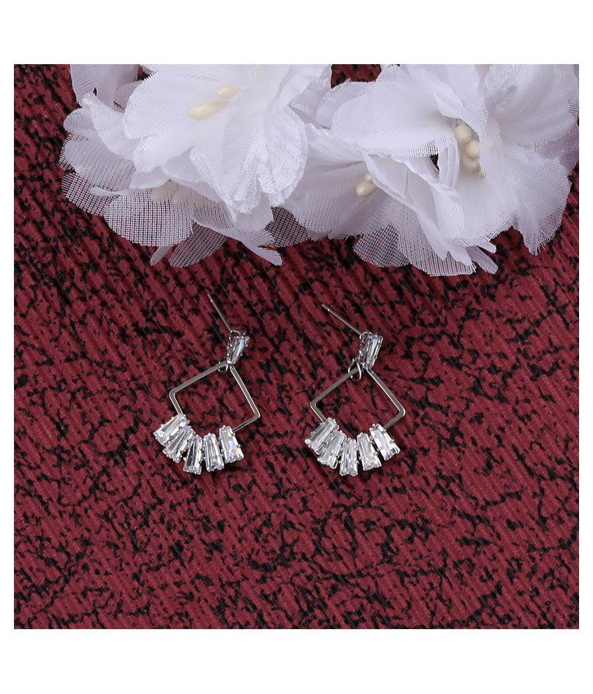 SILVER SHINE Silver Plated Designer Stylish Stud Earring For Women Girl