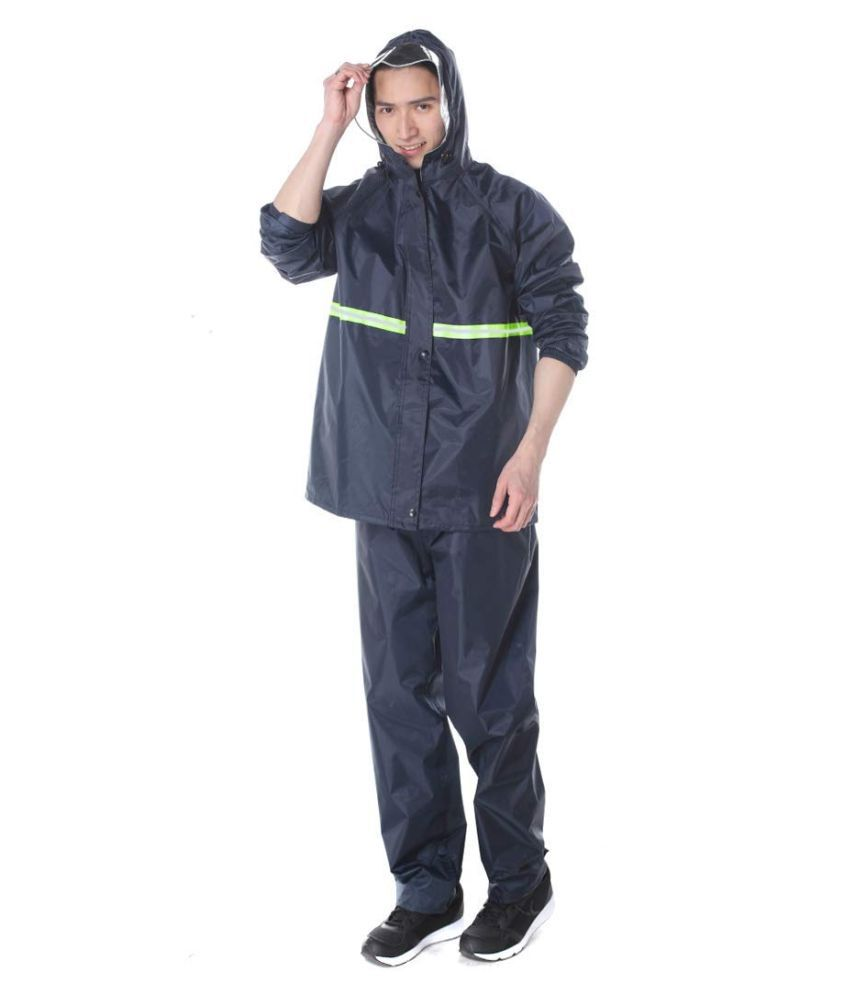 Cloful Heavy Duty Size 2XL Waterproof Windproof Rain Suit Jacket and Pant Set Raincoat for Men