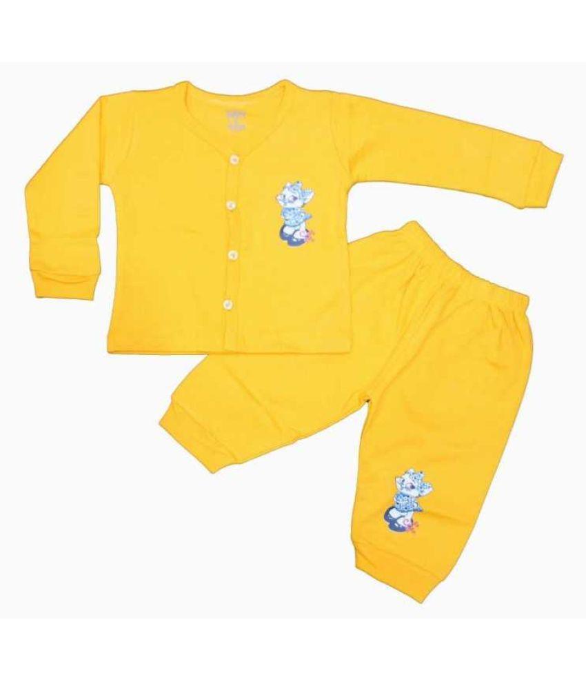 LOVELYLAP 100% Cotton High Quality Yellow Color Full Length T-Shirt Pyjama Set