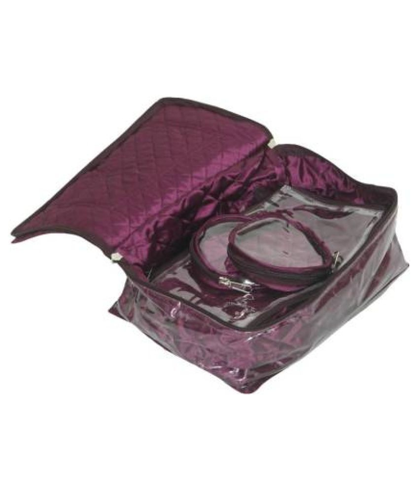 Shopocus Locker Jewellery Kit With 12 Pouches (Quilted Satin Material) Multi purpose Vanity Box (Purple)