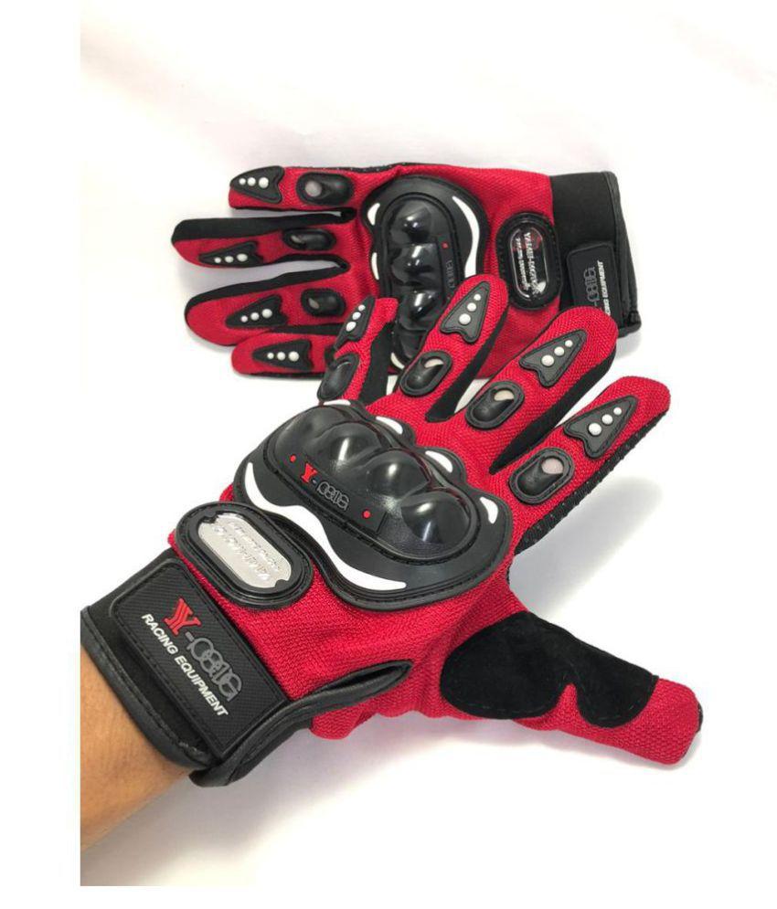 Mubco™ Pro Biker's Gloves Full Finger | Gloves Size Medium Unisex (Red)