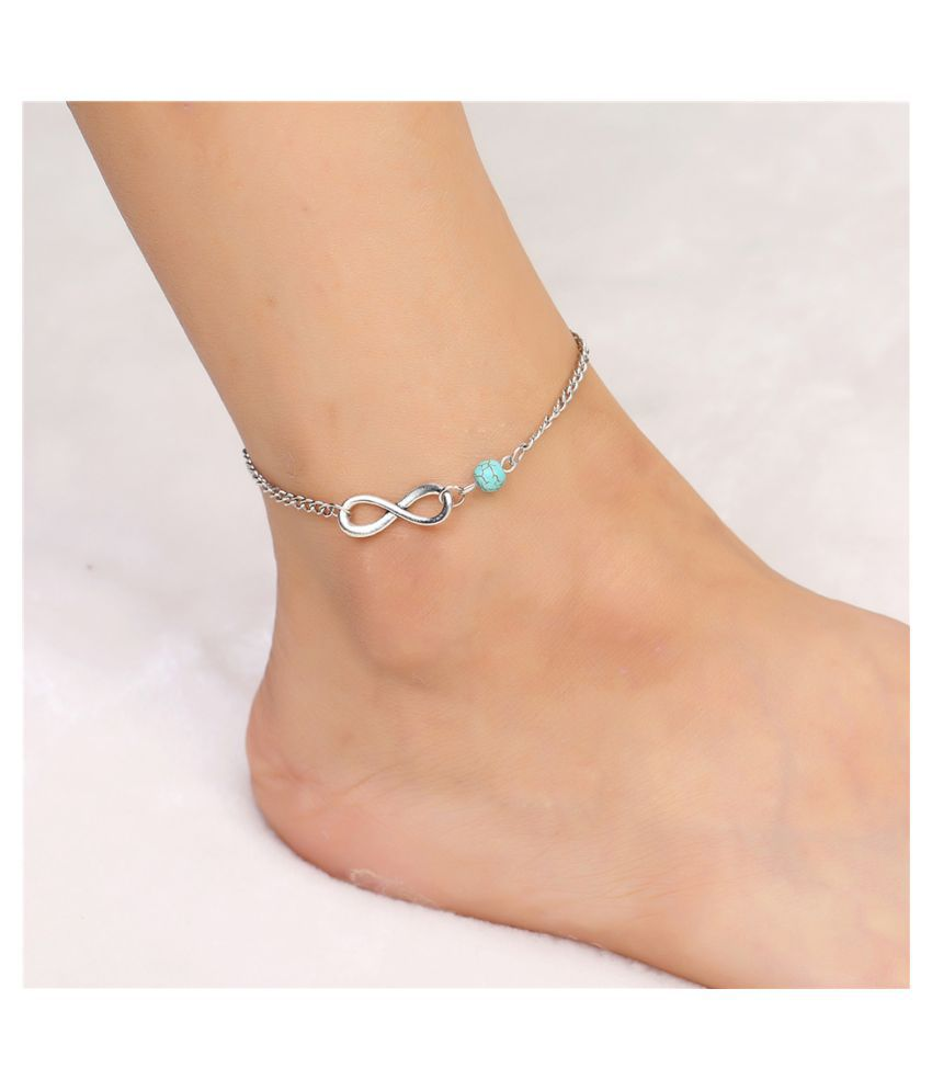Secret Wear New Light Blue And Silver Plated Anklet