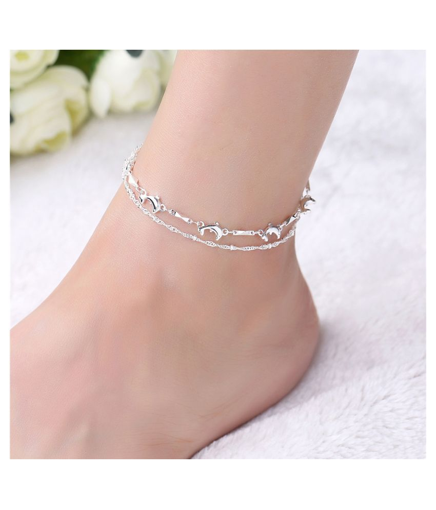 Secret Wear New Silver And Silver Plated Anklet