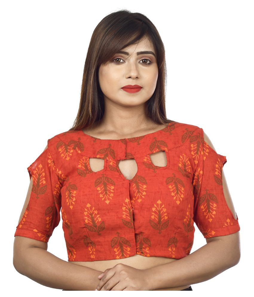 FASHION OFFBEAT Red Cotton Readymade without Pad Blouse
